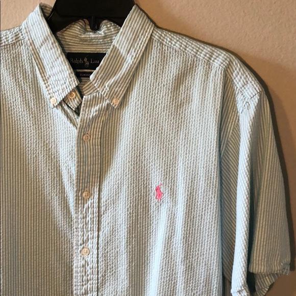 Ralph Lauren White Classic Short Sleeve Seersucker Dress Shirt